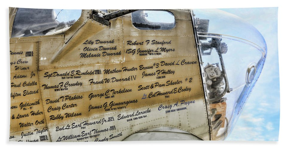Wwii Bath Sheet featuring the photograph Names On B-17 by Chuck Kuhn