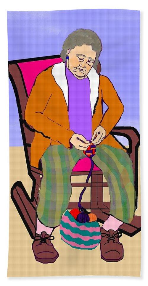 Grandmother Bath Sheet featuring the digital art Nana Knitting by Pharris Art