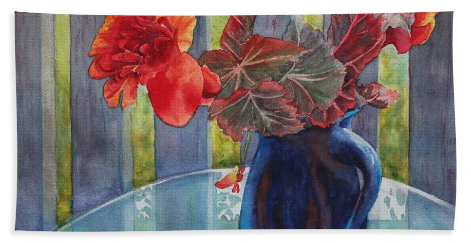 Blue Jug Hand Towel featuring the painting Nancy's Begonias by Ruth Kamenev