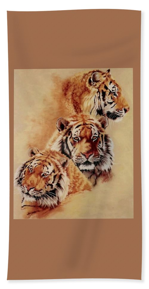Tiger Hand Towel featuring the pastel Nanook by Barbara Keith