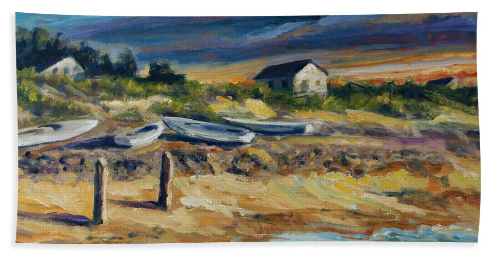 Stormy Clouds Bath Towel featuring the painting Nantucket by Rick Nederlof
