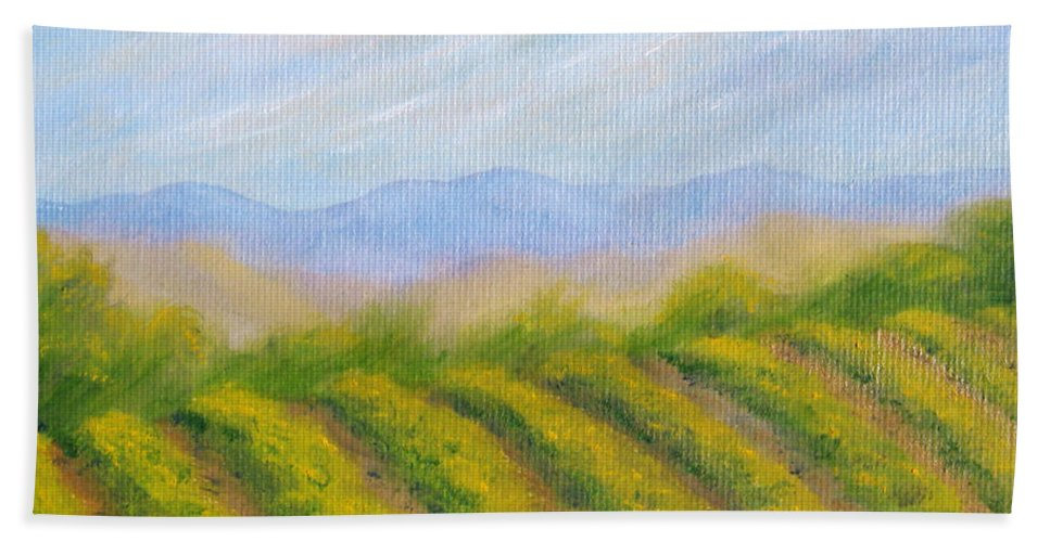 Napa Valley Bath Sheet featuring the painting Valley Vineyard by Jerome Stumphauzer