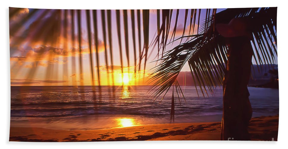 Sunset Hand Towel featuring the photograph Napili Bay Sunset Maui Hawaii by Jim Cazel