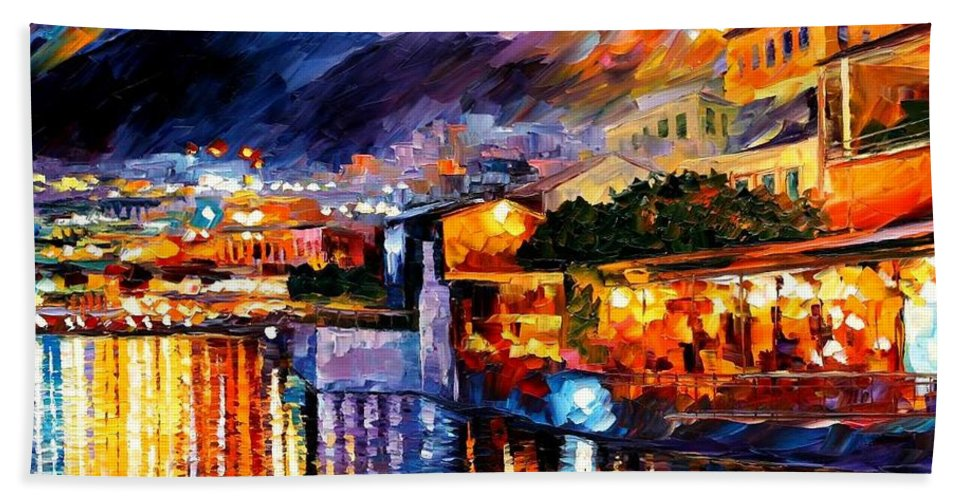 Afremov Bath Sheet featuring the painting Naples - Vesuvius by Leonid Afremov