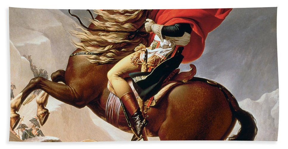 Bonaparte; Mounted; Portrait; Horse; Horseback; Male; Marengo; Rearing; Napoleon I; 1769-1821 Hand Towel featuring the painting Napoleon Crossing The Alps by Jacques Louis David