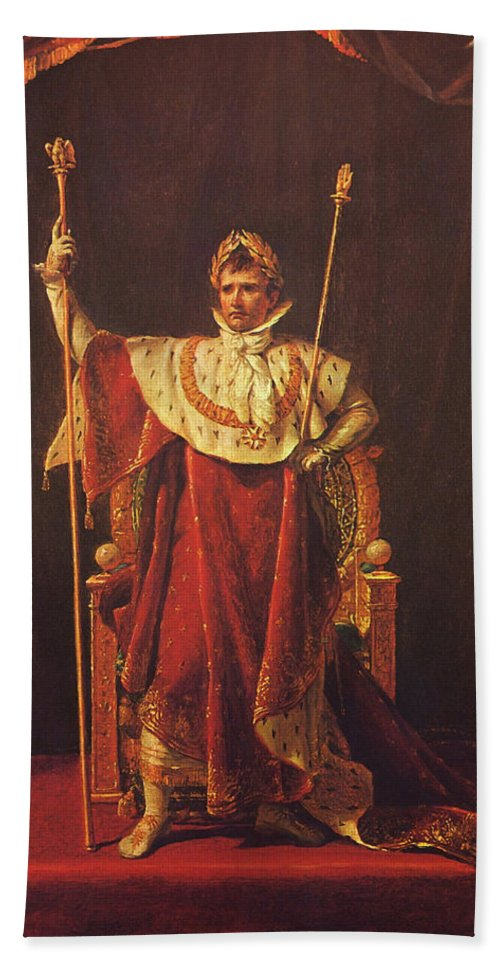 Napoleon Hand Towel featuring the painting Napoleon by War Is Hell Store