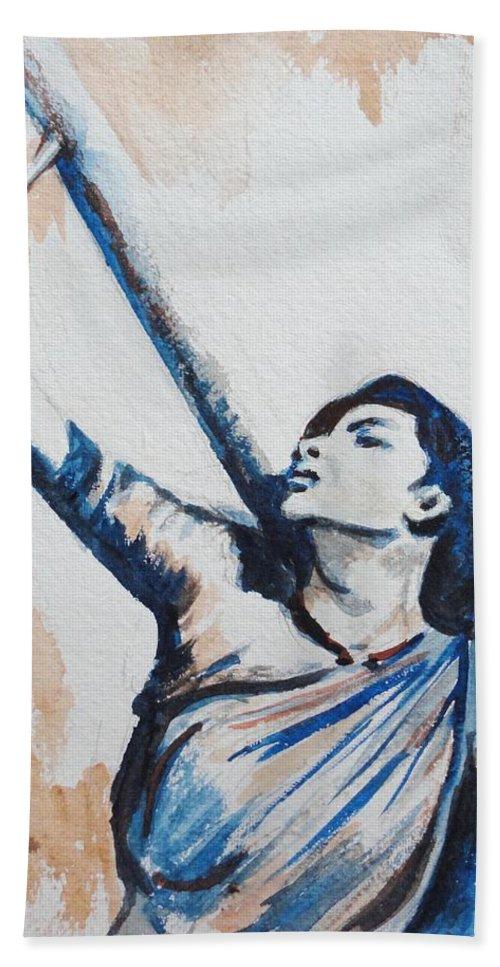 Bath Sheet featuring the painting Nargis Bollywood Star by Usha Shantharam
