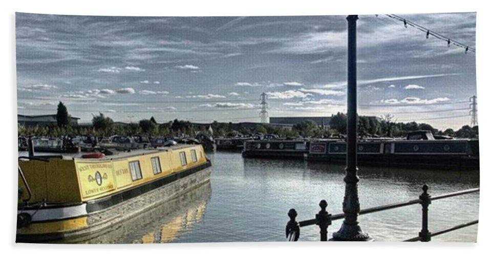 Nature Bath Towel featuring the photograph Narrowboat Idly Dan At Barton Marina On by John Edwards