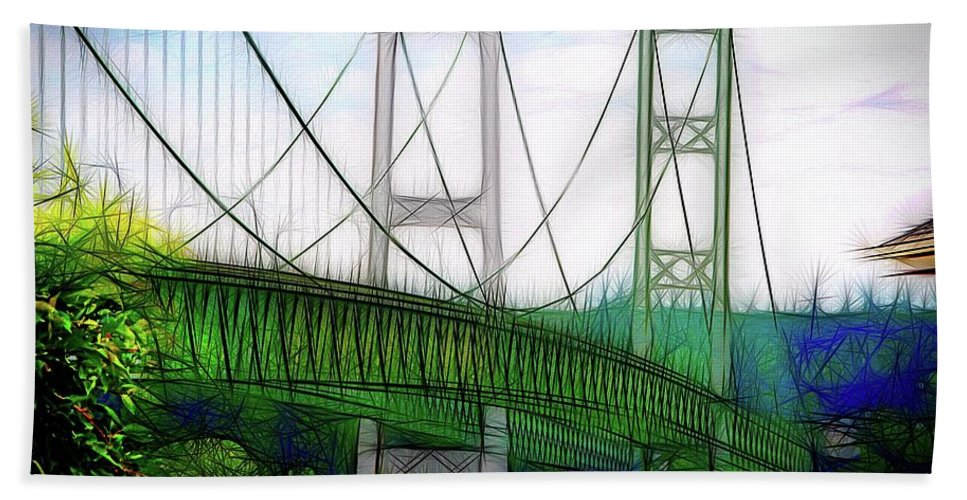Abstract Art Bath Sheet featuring the photograph Narrows Bridge Abstract by David Coleman
