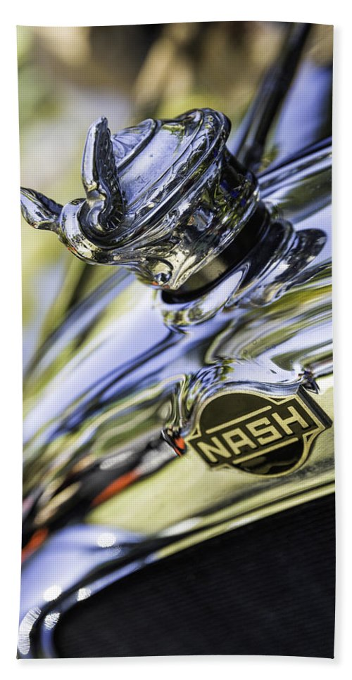 Nash Hand Towel featuring the photograph Nash Hood Ornament by Fran Gallogly