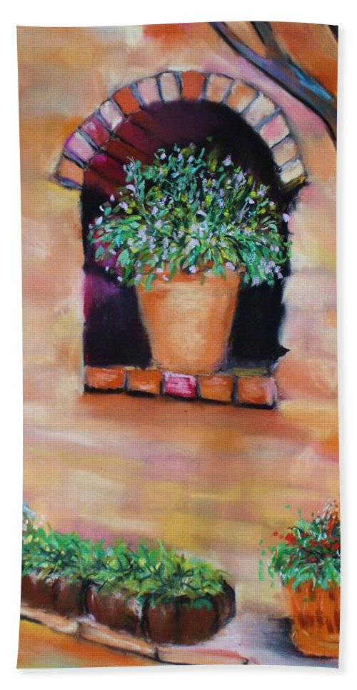 Courtyard Bath Towel featuring the painting Nash's Courtyard by Melinda Etzold