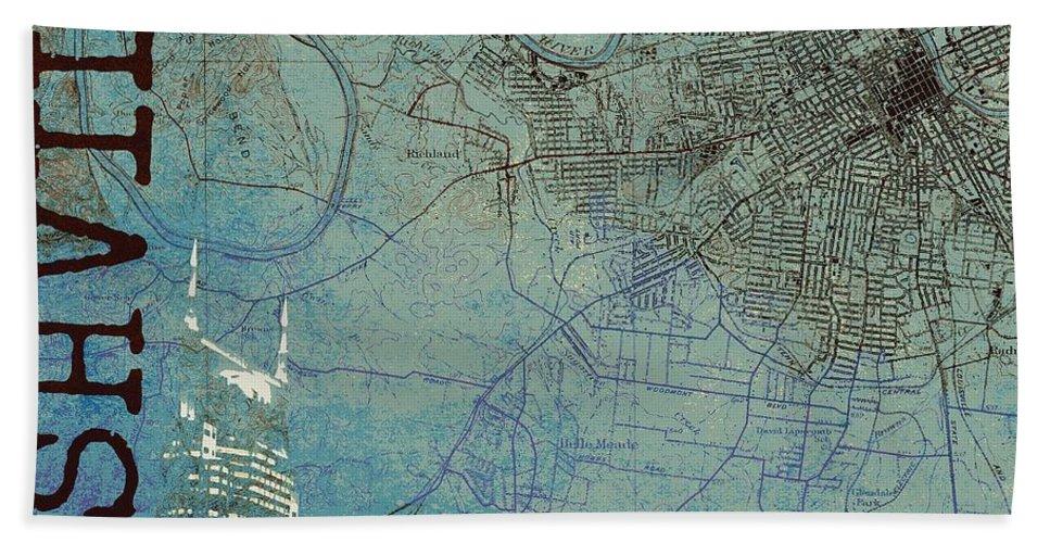 Brandi Fitzgerald Bath Towel featuring the digital art Nashville Skyline Map by Brandi Fitzgerald