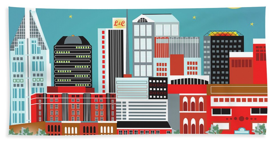 Nashville Hand Towel featuring the digital art Nashville Tennessee Horizontal Skyline by Karen Young