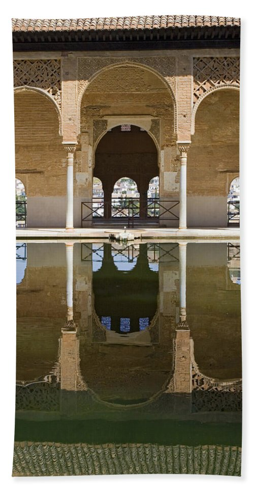 Moorish Hand Towel featuring the photograph Nasrid Palace Arches Reflection At The Alhambra Granada by Mal Bray