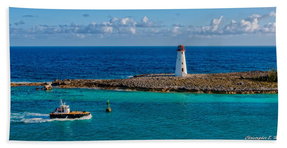 Lighthouse Bath Sheet featuring the photograph Nassau Harbor Lighthouse by Christopher Holmes