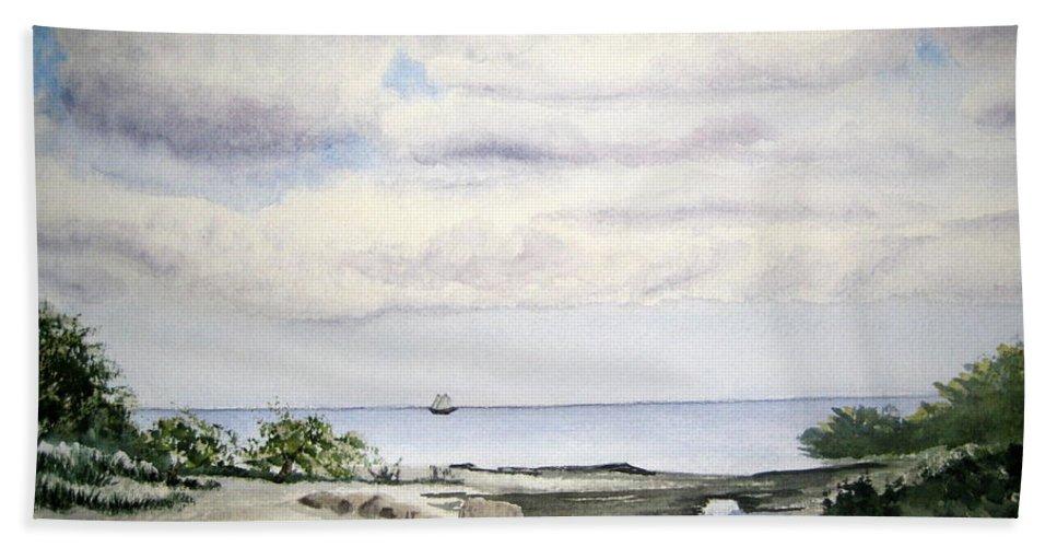 Natalie Bath Sheet featuring the painting Natalie's Beach by Julia RIETZ