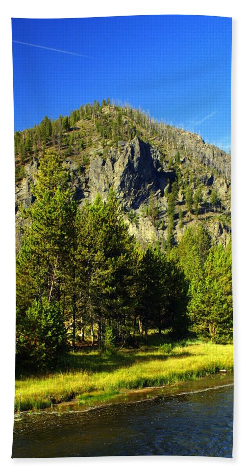 Yellowstone National Park Bath Towel featuring the photograph National Park Mountain by Marty Koch