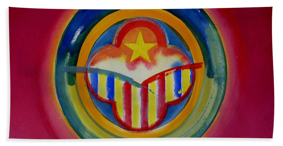 Button Hand Towel featuring the painting Native American by Charles Stuart