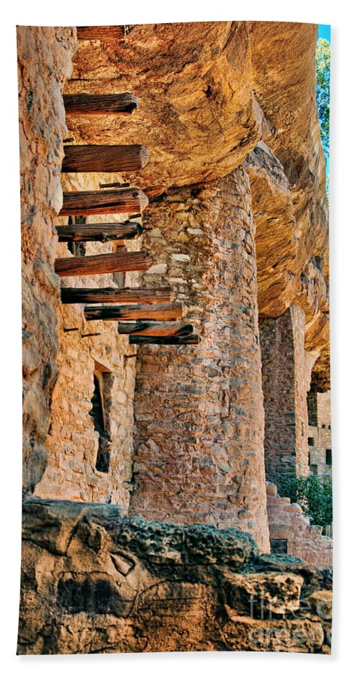 Cliff Bath Sheet featuring the photograph Native American Cliff Dwellings by Jill Battaglia