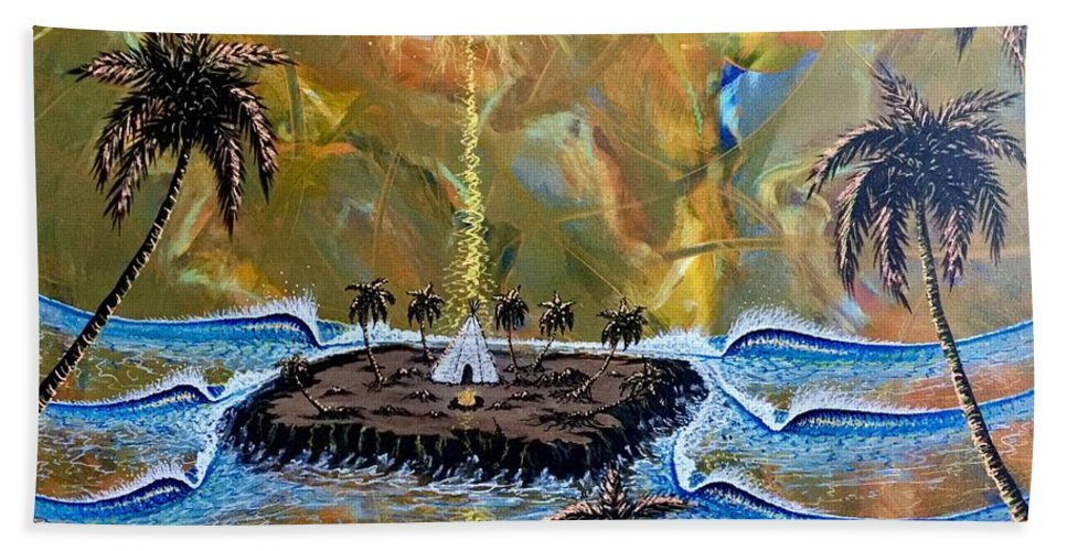 Native Hand Towel featuring the painting Native Sunset Dream by Paul Carter