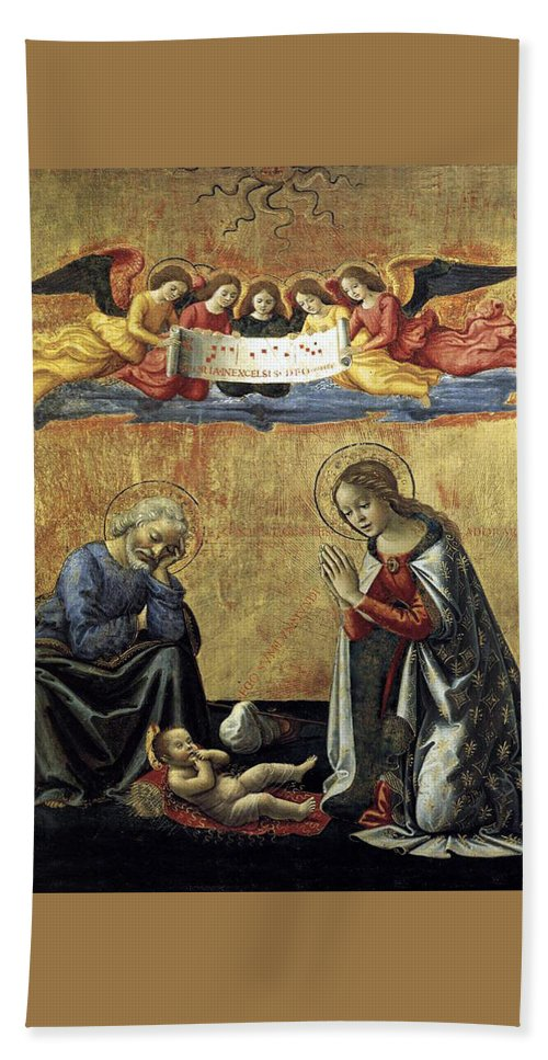Nativity Hand Towel featuring the painting Nativity By Domenico Ghirlandaio by Munir Alawi