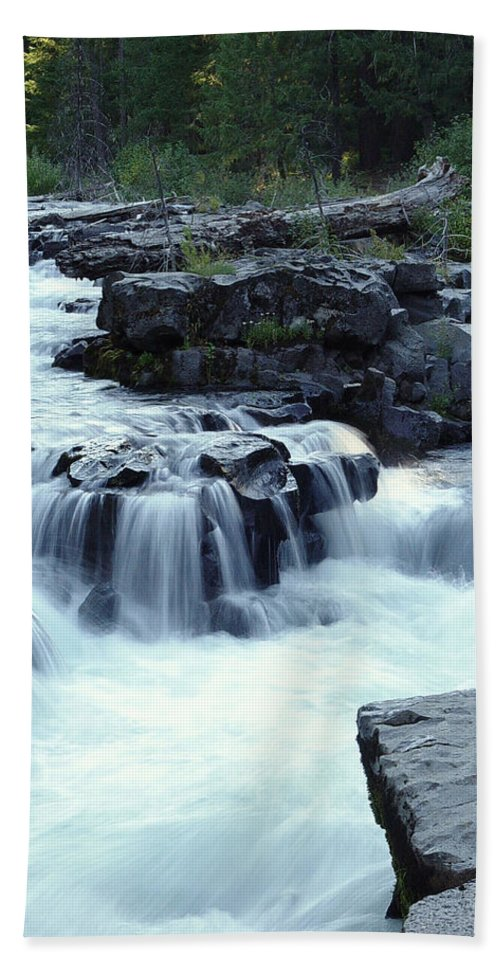 Waterfall Hand Towel featuring the photograph Natural Bridges Falls 03 by Peter Piatt