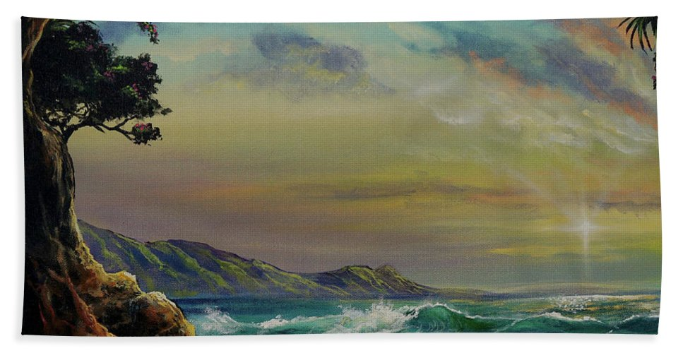 Seascape Hand Towel featuring the painting Natural Mystic by Marco Antonio Aguilar