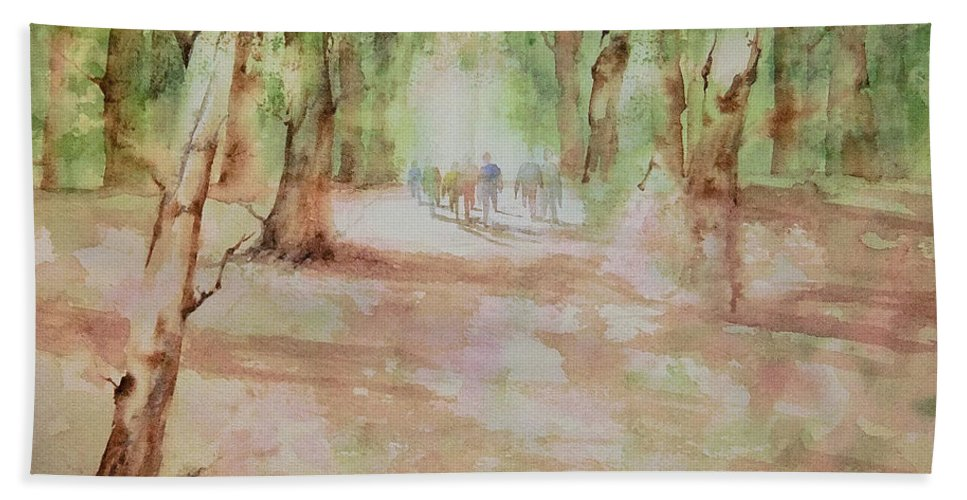 Watercolor Bath Sheet featuring the painting Nature At The Nature Center by Debbie Lewis