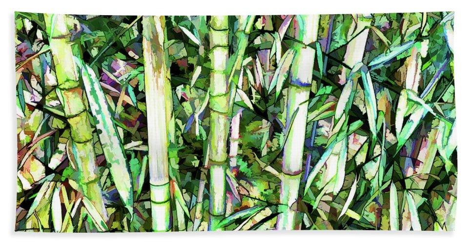 Art Of Bamboo Hand Towel featuring the painting Nature Green Background by Jeelan Clark
