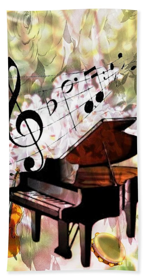 Nature Is Music To My Soul Bath Sheet featuring the mixed media Nature Is Music To My Soul by Maria Urso
