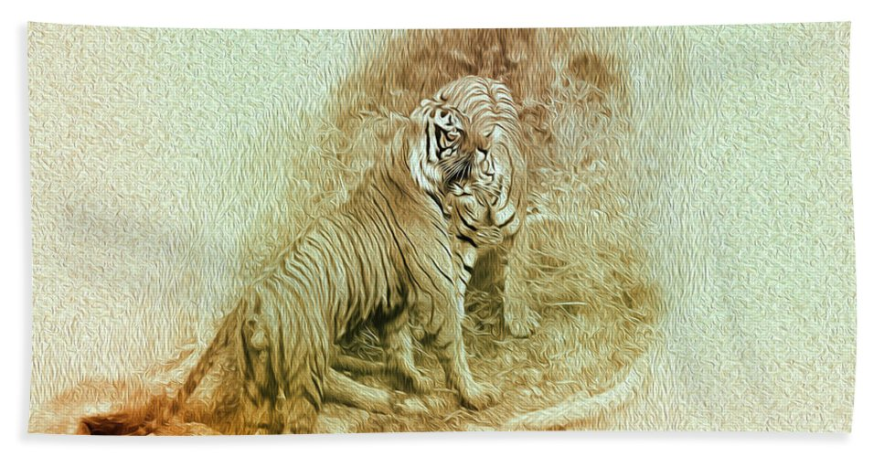 Tiger Hand Towel featuring the photograph The Real World by Manjot Singh Sachdeva