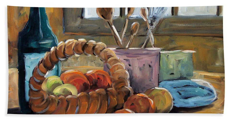 Art Bath Sheet featuring the painting Nature Morte by Richard T Pranke