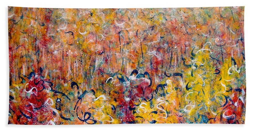 Autumn Bath Towel featuring the painting Nature by Natalie Holland