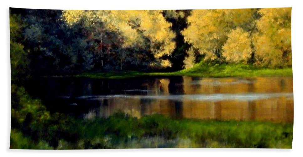 Landscape Hand Towel featuring the painting Nature Walk by Jim Gola