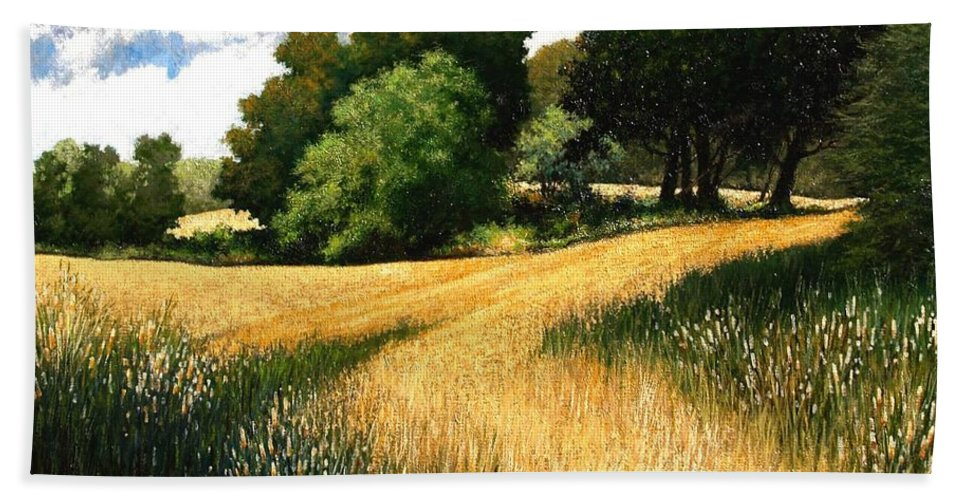 Landscape Bath Sheet featuring the painting Nature Walk Ridgefield Washington by Jim Gola
