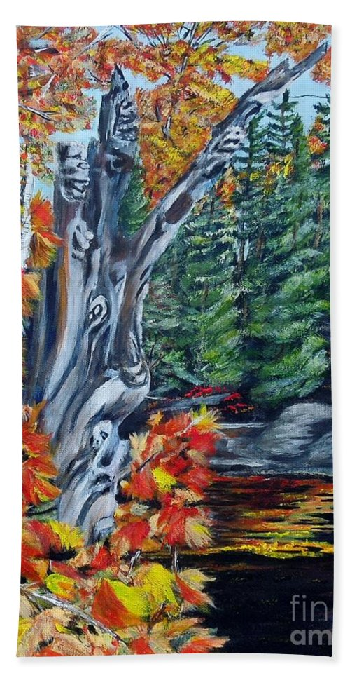 Dead Stump Hand Towel featuring the painting Natures Faces by Marilyn McNish