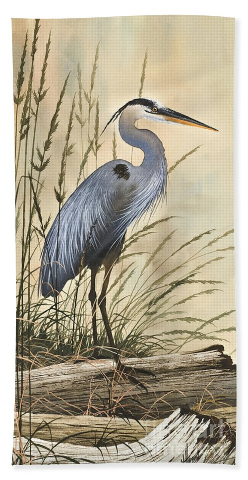 Heron Bath Sheet featuring the painting Nature's Harmony by James Williamson