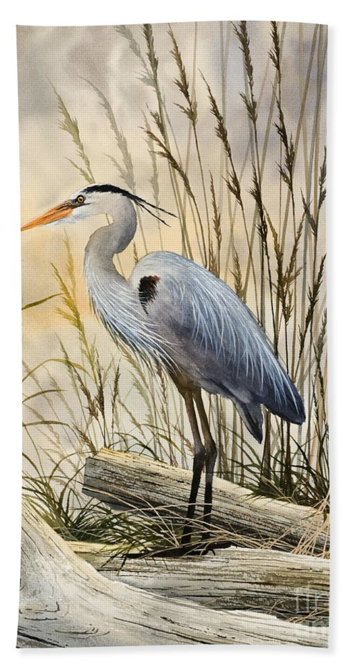 Heron Fine Art Prints Bath Sheet featuring the painting Nature's Wonder by James Williamson
