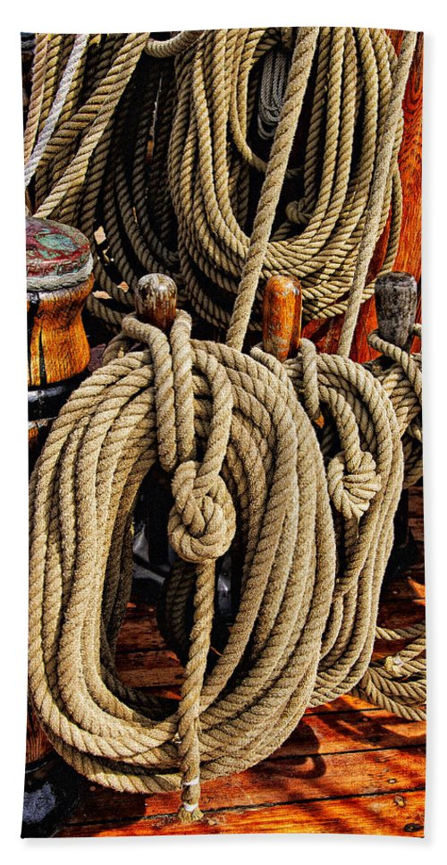 Boat Bath Sheet featuring the photograph Nautical Knots 16 by Mark Myhaver