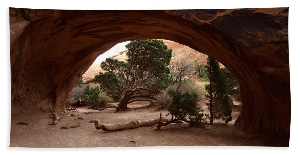 Navajo Bath Sheet featuring the photograph Navajo Arch by Denise Ashley