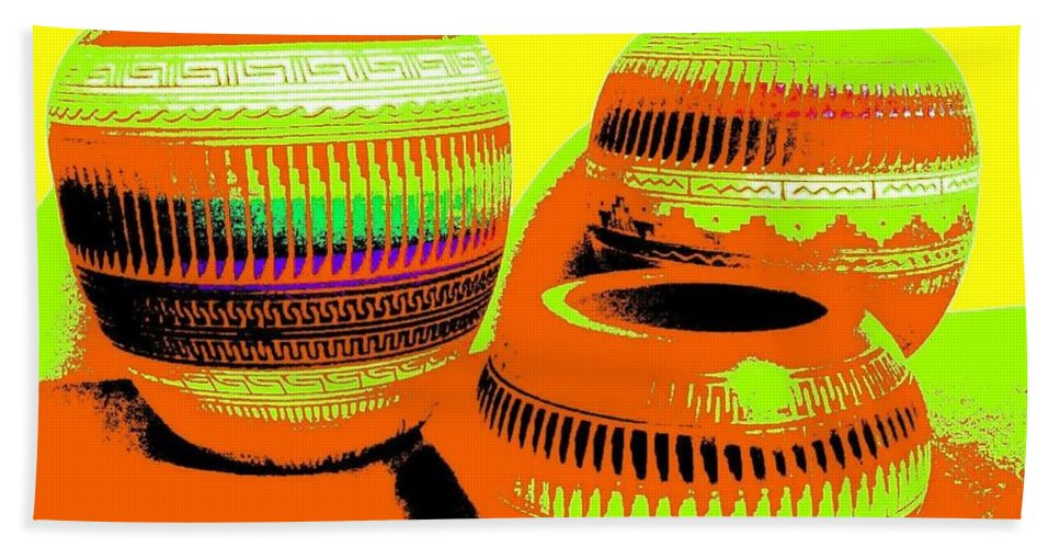 Abstract Hand Towel featuring the digital art Navajo Pots by Will Borden