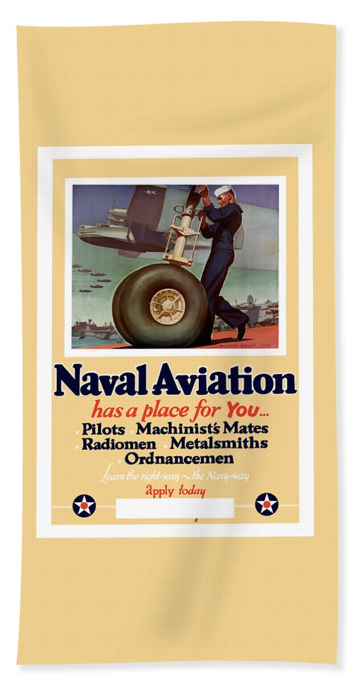 Navy Hand Towel featuring the painting Naval Aviation Has A Place For You by War Is Hell Store