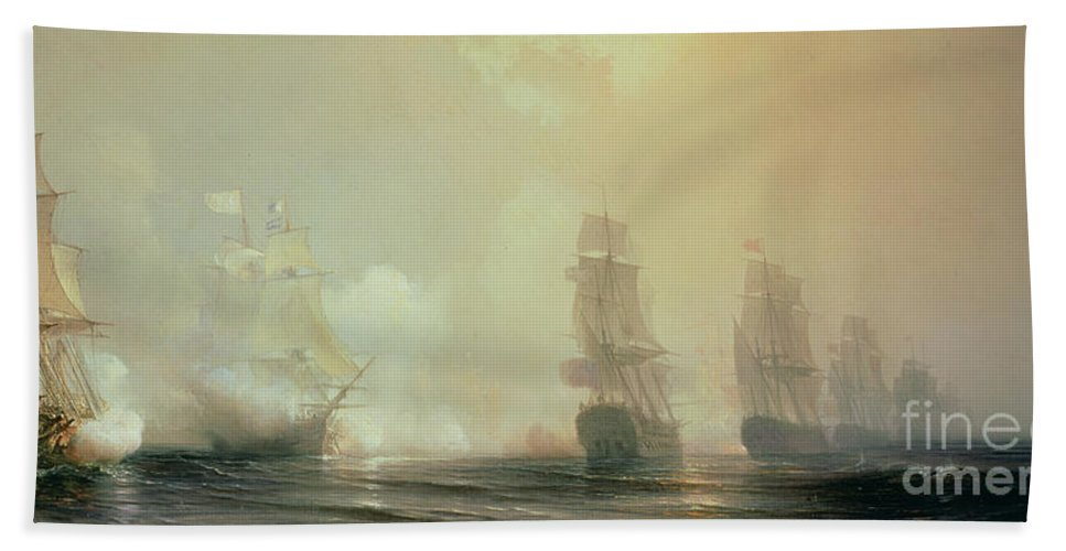 Boat Bath Towel featuring the painting Naval Battle In Chesapeake Bay by Jean Antoine Theodore Gudin
