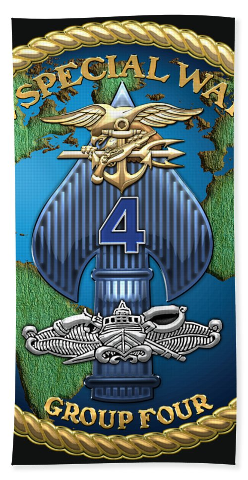 'military Insignia & Heraldry - Nswc' Collection By Serge Averbukh Bath Sheet featuring the digital art Naval Special Warfare Group Four - N S W G-4 - On Black by Serge Averbukh