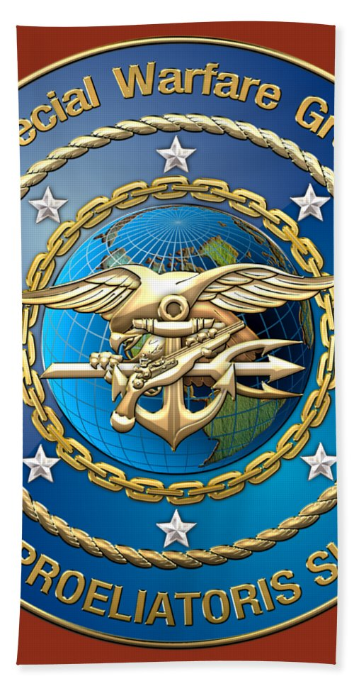 'military Insignia & Heraldry - Nswc' Collection By Serge Averbukh Bath Sheet featuring the digital art Naval Special Warfare Group Two - N S W G-2 - On Red by Serge Averbukh