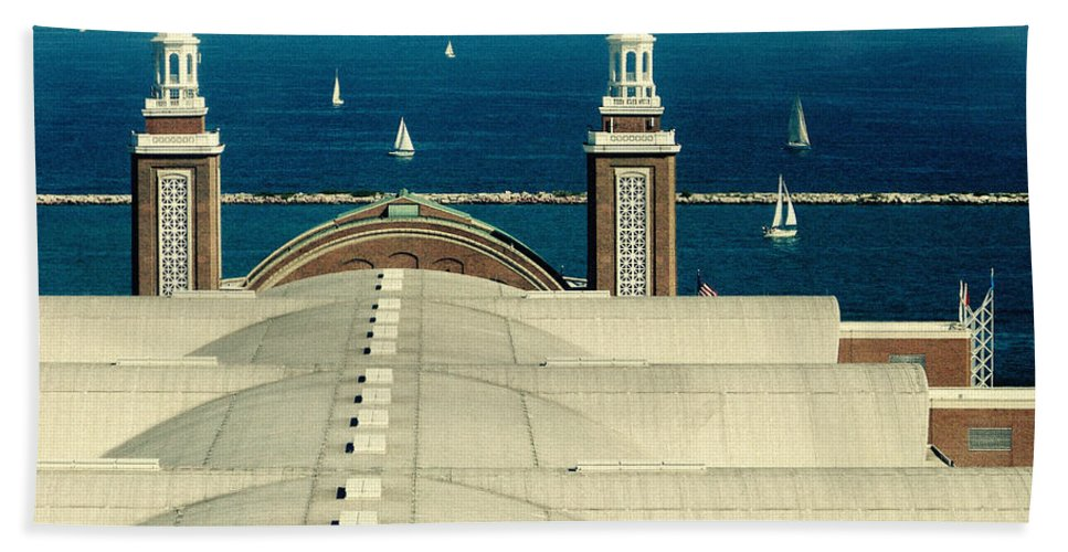 Navy Pier Hand Towel featuring the photograph Navy Pier Chicago by Kyle Hanson