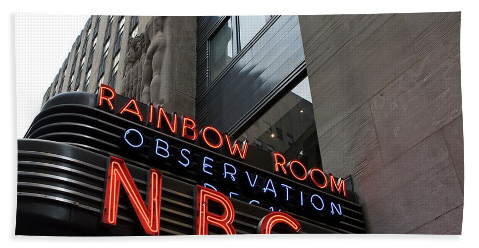 Iconic Sign Bath Sheet featuring the photograph Nbc Studio Rainbow Room Sign by Lorraine Devon Wilke