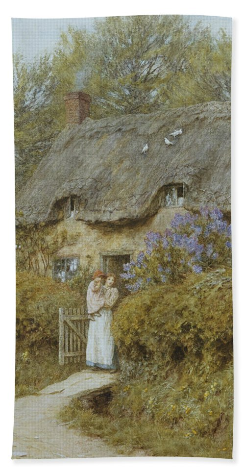 Cottage; English; Landscape; Victorian; C19th; C20th; Thatched; Thatch; Gate; Gateway; Hedge; Mother; Child; Baby; Female Hand Towel featuring the painting Near Freshwater Isle Of Wight by Helen Allingham