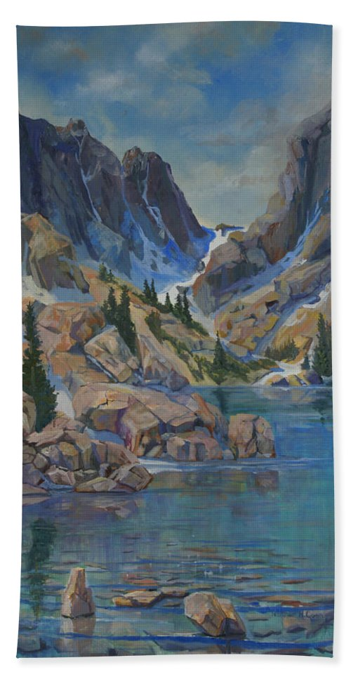 Hayden Spires Bath Sheet featuring the painting Near Hayden Spires by Heather Coen