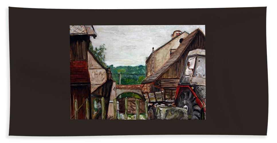 Landscape Hand Towel featuring the painting Nebocadsky Statek by Pablo de Choros